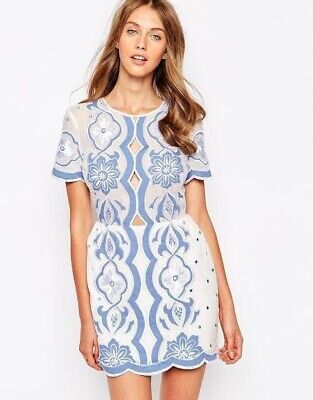 AU49 • Buy ALICE MCCALL * All About You Embroidered Summer Dress Periwinkle * Size 8 $385rp