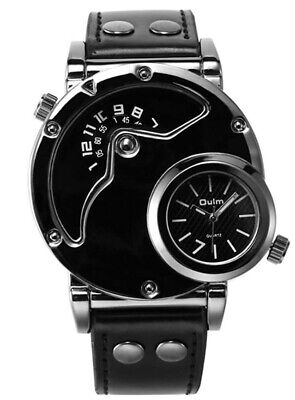 £12 • Buy Mens Analogue Quartz Watches Dual Time Wrist Watch Large Face Watches Black Band