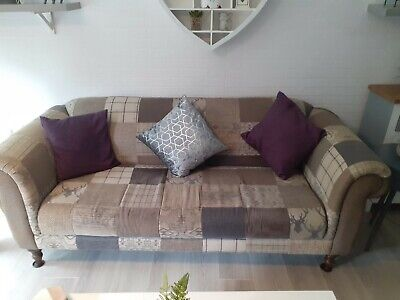 £600 • Buy Three& Two Seater Dfs Stag Patchwork  Fabric Sofas