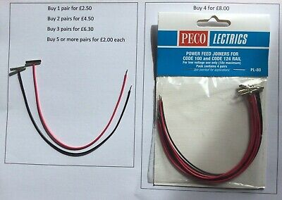 £2.50 • Buy Peco PL-80 Power Feed Rail Joiners - Sold In Pairs - 1 Red & 1 Black Lead