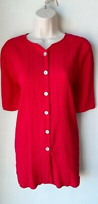 £1.50 • Buy Ladies Vintage Pleated Shirt Blouse Red Short Sleeve Size M Pearl Buttons