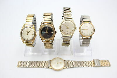 £5.50 • Buy 5 X Vintage Gents Gold Tone WRISTWATCHES Hand-Wind Inc. Rotary, Accurist Etc