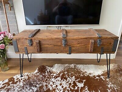 £50 • Buy Old Travel Trunk Coffee Table Cottage Steamer Pine Chest Vintage Retro Wooden
