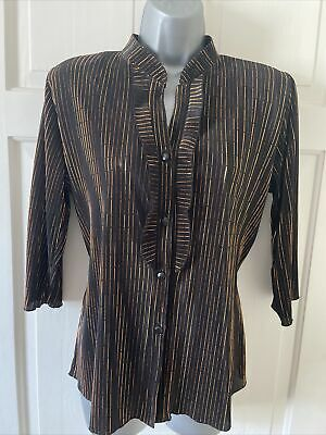 £7.99 • Buy FOREVER BY MICHAEL GOLD Black/Copper Plisse 3/4 Sleeve Top/Blouse Size L 16/18