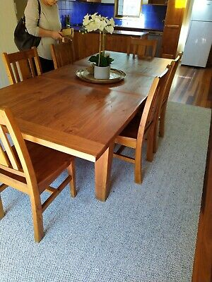 AU300 • Buy Solid Timber Extendable Dining Table + 8 Chairs