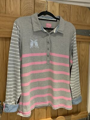 £5.99 • Buy Joules Grey Pink Belvoir Striped Polo Shirt Size 18