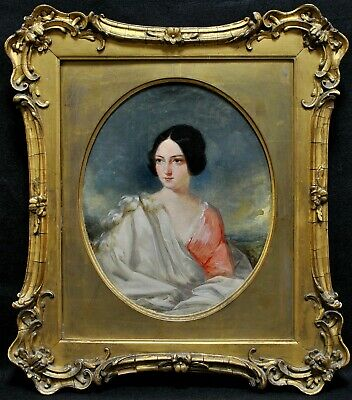 £26 • Buy 19th CENTURY OIL ON CANVAS PORTRAIT OF A LADY IN A LANDSCAPE ANTIQUE PAINTING