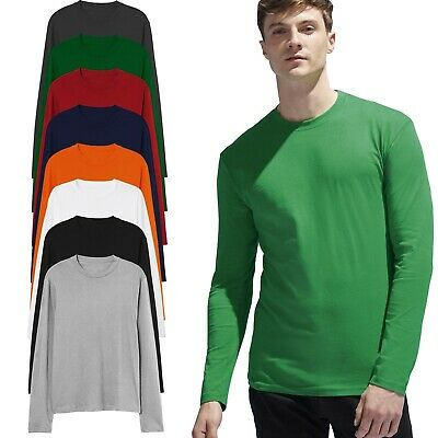 £4.99 • Buy Mens Long Sleeve T-Shirt 100% Cotton Plain Crew Round Neck Casual Tee Tops S-3XL