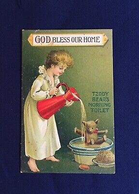 £12.72 • Buy Antique Teddy Bear Bless Our House Postcard Red Lion Hay Victoria Aus Dated 1910