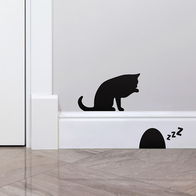 £2.99 • Buy Cat & Sleeping Mouse Skirting Board Bedroom Wall Art Stickers Wall Decoration