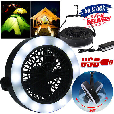 AU23.36 • Buy LED Fan Portable 3 In 1 With Hook Rechargeable For Outdoor Camping USB Tent Lamp