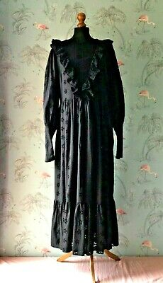AU52.69 • Buy Asos Design Black Broaderie Anglaise Victorian Gothic Style Maxi Dress 16 Tall