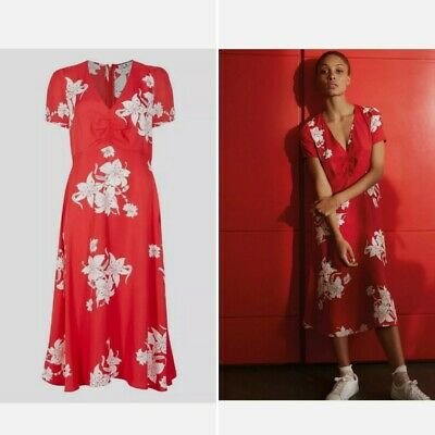 AU64.37 • Buy M&S Alexa Chung Misty Holly Willoughby Red Floral Midi Dress New Tags UK 10