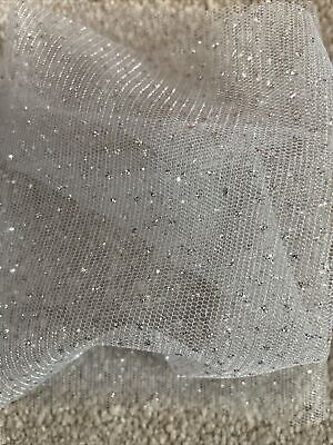 £1 • Buy 4m Of 150mm Wide Soft Nylon Sparkly Silver Tulle Net Wedding/Tutu/Craft