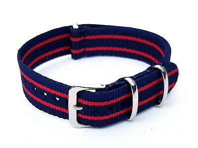 £6.99 • Buy New 18mm Nylon Watch Strap Band Army Military Unisex Style Blue Red
