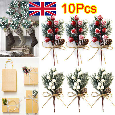 £6.49 • Buy 10Pc Fake Snow Frost Pine Branch Cone Berry Holly Xmas Tree Christmas Ornament W