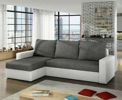 £390 • Buy Corner Sofa Bed LIWIO With Storage Container Sleep Function Universal Side New