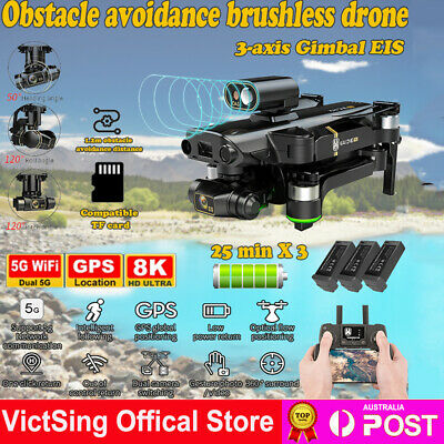 AU292.49 • Buy 8K HD Dual Camera Drone 5G Wifi 3-Axis Gimbal GPS FPV Quadcopter RC Helicopter