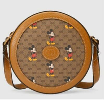 AU2114.61 • Buy Gucci Disney Mickey Mouse GG Supreme Canvas Leather Round Shoulder Bag NEW