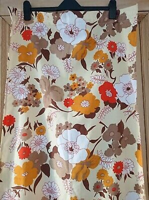 £20 • Buy 60s 70s Style Vintage Retro Floral Flower Curtains Orange Yellow Brown