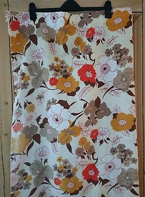 £30 • Buy 60s 70s Style Vintage Retro Floral Flower Curtains Orange Yellow Brown