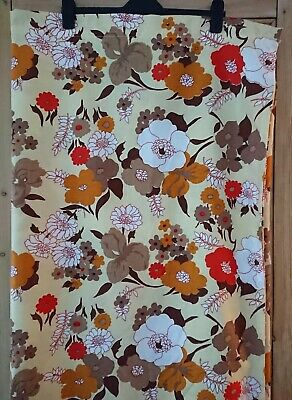 £35 • Buy 60s 70s Style Vintage Retro Floral Flower Single Lge Curtain Orange Yellow Brown