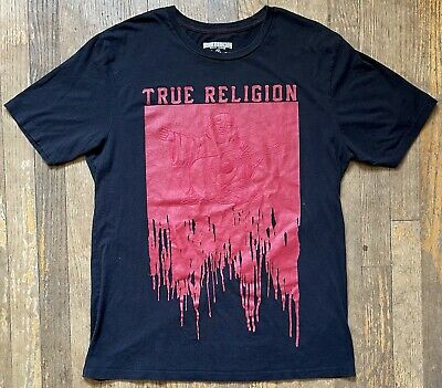 £14.49 • Buy True Religion Buddha Black Red Paint Drip Graphic Tee T-Shirt Men's Size Large
