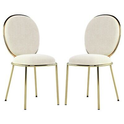 AU449 • Buy BRAND NEW Cream Velvet And Gold Dining Chairs - Set Of 4