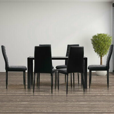 AU260.90 • Buy Artiss 7-pc Dining Table And Chairs Set Glass Tables Leather Seat Chair Black