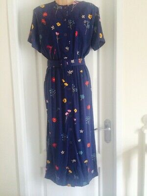 £12.99 • Buy BEAUTIFUL BLUE/ FLORAL BUTTON FRONT BELTED MIDI DRESS By ENNVI- SIZE 18