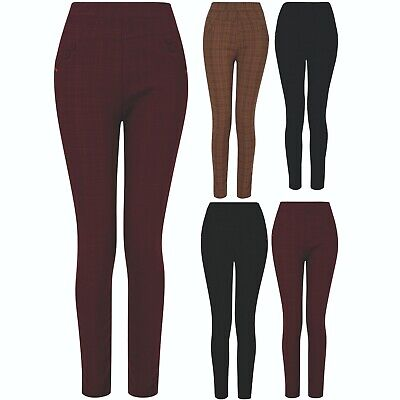 £7.95 • Buy Womens Ladies Check Trousers Elasticated Waist Stretch Fit Patterned Sizes 8-18