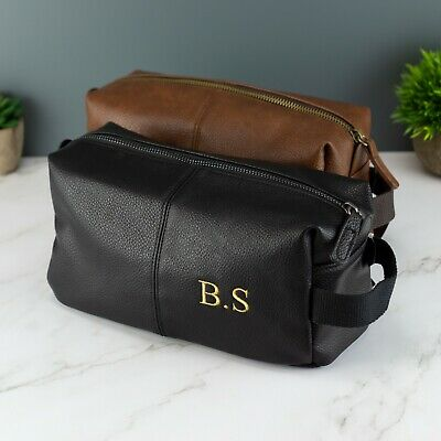 £16.99 • Buy Personalised Embroidered Mens Leather Toilet Wash Bag With Strap Black Or Brown