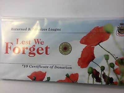 AU9.90 • Buy 2012 R.S.L RED POPPY $10 Donation Certiicate NO COIN