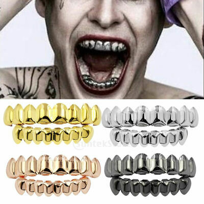 £4.77 • Buy Halloween 18K Gold Plated Mouth Teeth Joker Grills Top&Bottom Grill Set Jewelry