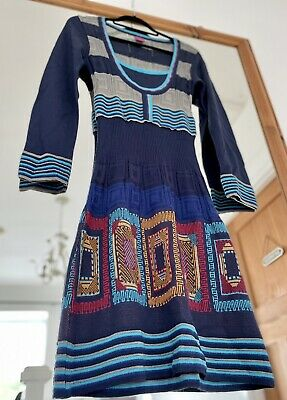 AU119.56 • Buy SAVE THE QUEEN Knit MIDI Dress Small S 8 10 Blue Graphic Print Patterned Stripe