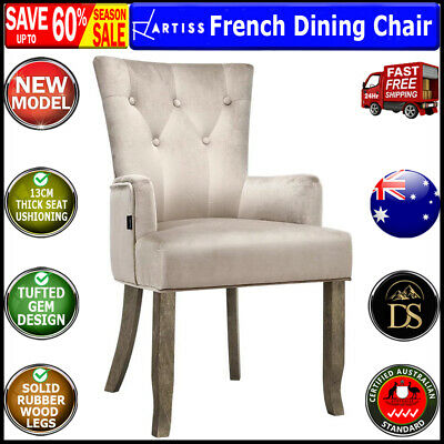 AU154.10 • Buy Artiss Dining Chairs French Provincial Chair Velvet Fabric Timber Retro Camel