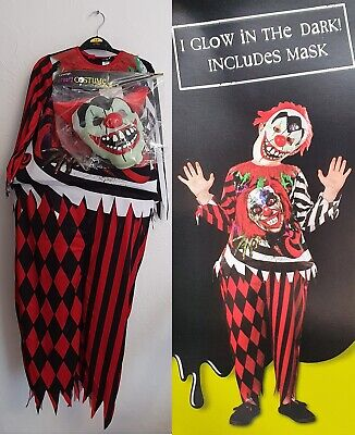 £9.99 • Buy George Kids Scary Clown Halloween Costume That Glows In The Dark & Includes Mask