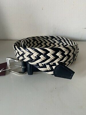 £40 • Buy Anderson's Weaved Men Black White Multi Leather Belt UK38 EU95 Made In Italy NWT