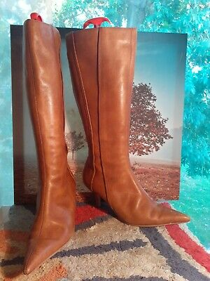 £3 • Buy Womens Brown/tan Leather Knee Length Boots Size 7/40
