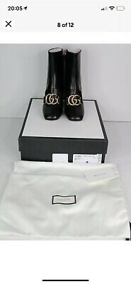 £500 • Buy Gucci New  Marmont Black Leather Ankle Boots With Double G Size 37.5 UK 4.5