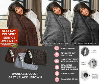 £36.95 • Buy Electric Heated Throw Over Blanket Soft Fleece Washable Black Brown Grey Timer