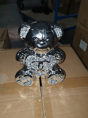 £9.50 • Buy  Crushed Diamond Silver Shine Teddy Bear Sparkle Bling Ornament, EXTRA SPARKLY