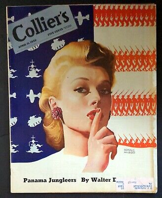 £7.26 • Buy COLLIER'S April 11, 1942 Magazine WW2 Pretty Girl Loose Lips SHH! Painted Cover
