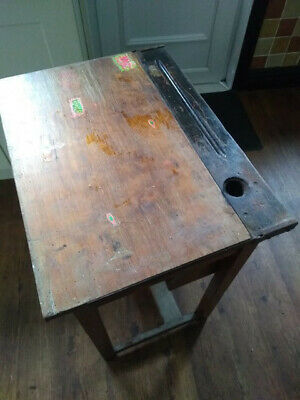 £19 • Buy Old Vintage Solid Wood School Desk With Lifting Lid
