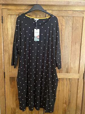 £17 • Buy Joules Womens Lacey Dropped Shoulder Swing Dress - Grey Bee - 14 BNWT