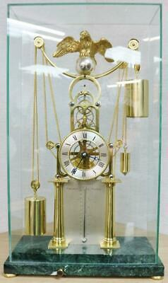 £3995 • Buy Rare Vintage English Weight Driven Skeleton Clock With Thermometer & Glass Case
