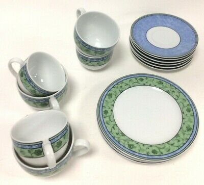£9.99 • Buy Wedgewood Home Watercolour Fine China Tea Set (6 Cups With Saucers + 4 Dessert)