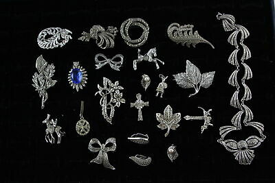 £5.50 • Buy 20 X Vintage Marcasite JEWELLERY Inc. Necklaces, Brooches, Earrings
