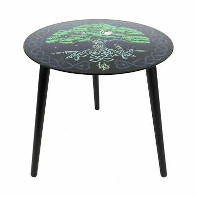 £9.99 • Buy Tree Of Life Lisa Parker Glass Table Circle Round Side Lamp Plant Stand 3 Leg