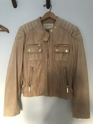 £37.17 • Buy Michael Kors Brown Leather Motorcycle Jacket Quilted Gold Zip Coat Size Medium M